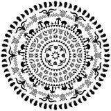 Round ornament z zwierzętami, wazy, bębeny ilustracji
