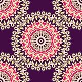 Round ornamental flourish seamless pattern Stock Photography