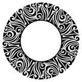 Round ornamental frame. Round black frame isolated on white Royalty Free Stock Photos