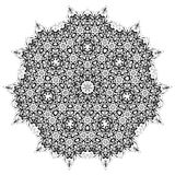 Round ornamental geometric doily pattern. Circle lace ornament, round ornamental geometric doily pattern, black and white Royalty Free Stock Photo
