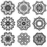 Round Ornamental Geometric  Pattern. Silhouettes of Snow Flakes Stock Photos
