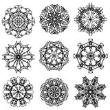 Round Ornamental Geometric Pattern. Silhouettes of Snow Flakes Stock Image