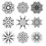 Round Ornamental Geometric Pattern. Silhouettes of Snow Flakes Stock Photo