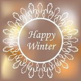 Round ornamental white frame on blurred background. Vector illustration. Happy winter card Stock Photography