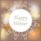 Round ornamental white frame on blurred background. Vector illustration. Happy winter card Royalty Free Stock Photo