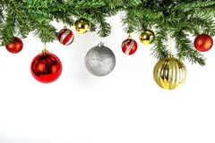 Round ornaments hanging from a pine branch Stock Image