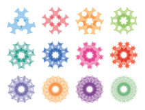 Round ornaments set. Abstract creative flowers Stock Photos