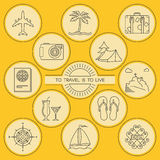 Round outlined travel and tourism icons set Stock Photo