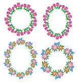Round and oval vector garlands of roses and gerberas Stock Photo