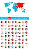 Round Płaskie guzik flaga Azja Uzupełniają set i Światową mapę Zdjęcia Stock
