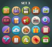 Round Płaskie ikony z Długim cieniem Ustawiają 3 Zdjęcie Stock