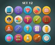 Round Płaskie ikony z Długim cieniem Ustawiają 12 Zdjęcie Royalty Free