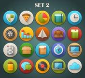 Round Płaskie ikony z Długim cieniem Ustawiają 2 Fotografia Stock