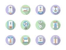 Round płaskie koloru domu klimatu ikony royalty ilustracja