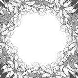 Round palm frame colorless vector illustration Royalty Free Stock Photography