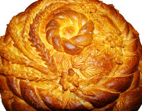 Round the panary loaf of bead. With a pattern from a high-quality flour the Russian traditional dish stock photos