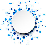 Round paper card over blue confetti. Stock Photo