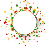 Round paper card over confetti. Royalty Free Stock Photos