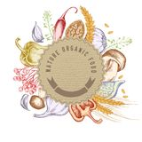 Round paper emblem over autumn food. Hand drawn vector illustration vector illustration