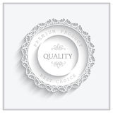 Round paper frame. Ornamental lacy label on white Stock Images