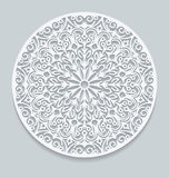 Round paper lace doily, greeting card. Decorative, geometric vec Stock Photos