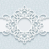 Round paper lace frame Stock Photography