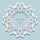 Round paper lace frame Royalty Free Stock Image