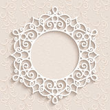 Round paper lace frame Royalty Free Stock Photos