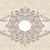 Round paper lace frame Stock Image