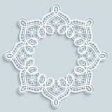 Round paper lace frame Royalty Free Stock Images
