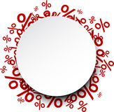 Round paper note over percent signs Royalty Free Stock Image