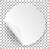 Round paper sticker. White label template with bent edge with shadow. Circle element for advertising and web design. Mockup note templates of a price tags vector illustration