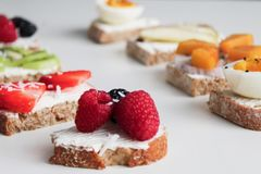Round Pastry With Fruit Toppings stock photography