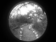 Round Pathway. Pathway in the forest photographed in a round frame which can be used as is or the black can be removed leaving an attractive and unique round Stock Photography