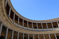 Round Patio and double colonnade of Charles V Palace inside the Nasrid fortification of the Alhambra, Granada, Andalusia, Spain Royalty Free Stock Image