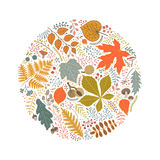 A round pattern of autumn leaves, berries and branches Stock Photos