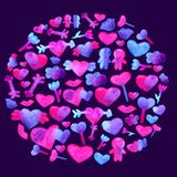 In a Round pattern with blue, pink watercolor hearts. arrow, lips, people romantic design. Isolated on violet background. Hand painted brush elements Modern Royalty Free Stock Image