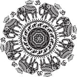 Round pattern with decorated elephants. And lotus flower Stock Images