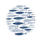 Round pattern of decorative fish. Vector Stock Images