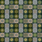 Round pattern element. Green yellow blue gray white Royalty Free Stock Image