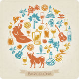 Round pattern with elements symbols of Barcelona. Vector round pattern with elements symbols of Barcelona Royalty Free Stock Photo