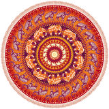 Round pattern with elephants. Round pattern with decorated elephants Stock Images