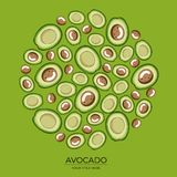 Round pattern of green avocado halves on a green background vector illustration