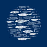 Round pattern of hand-painted fish. Vector Stock Image
