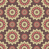 Round pattern. Seamless pattern with round yellow and pink decorate elements Stock Photos