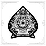 Round pattern shield with crown and vintage elements inside ace of spades form. Marine design playing card. Element black on white royalty free illustration