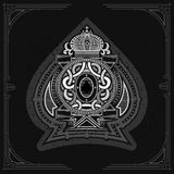 Round pattern shield with crown and vintage elements inside ace of spades form. Marine design playing card. Element white on black vector illustration