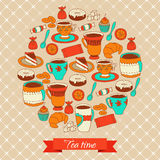 Round pattern with tea coffee and sweets Stock Image