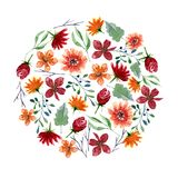 Round pattern of watercolor flowers and leaves. Bright autumn print in circle shape with floral elements Stock Image