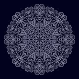 Round patterned ornament mandala 2. Round patterned ornament mandala. Bright delicate pattern on dark background. Vector Stock Photos